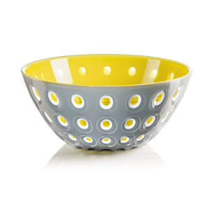 Guzzini Le Murrine Grey and Yellow 9.8 Inch Bowl