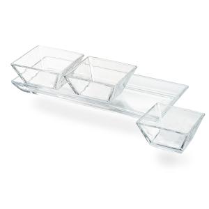 Artland Cortland Glass 12.5 x 5 Inch 3 Section Tray