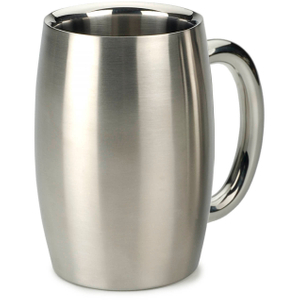 RSVP International Endurance Stainless Steel Double Walled Beer Mug, 15 Ounce