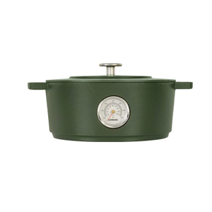 Combekk Railway Green Enameled Cast Iron 6.3 Quart Dutch Oven with Thermometer