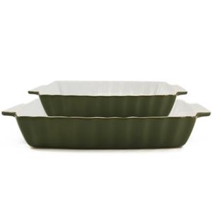 Rectangular Bakeware 2 Piece Set Green Large & Small