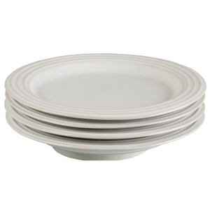 Le Creuset White Stoneware 8.5 Inch Salad Plate, Set of 4