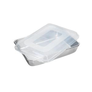 Nordic Ware Naturals Aluminum Rectangular Cake Pan with Plastic Lid