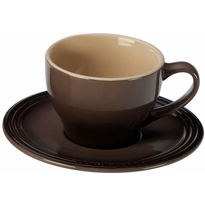 Le Creuset Truffle Stoneware Cappuccino Cup and Saucer Set, Service for 2