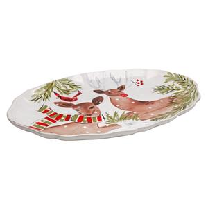 Casafina Deer Friends White Stoneware Large Oval Platter