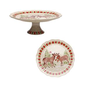 Casafina Deer Friends Stoneware Large Pedestal Plate