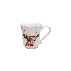 Casafina Deer Friends White Stoneware Coffee Mug, Set of 4