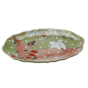 Casafina Deer Friends Green Stoneware Small Oval Platter