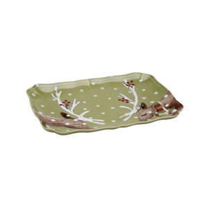 Casafina Deer Friends Green Stoneware Rectangular Platter
