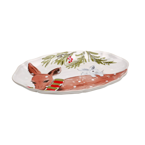 Casafina Deer Friends White Stoneware Small Oval Platter