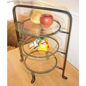 Three Tier Wrought Iron Serving Stand With 3 Plates