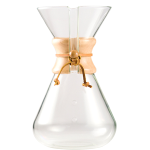 Chemex 13 Cup Hand Blown Glass Coffee Maker with Wood Collar and Tie, 65 Ounce