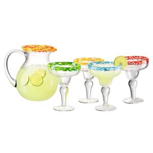 Artland Mingle 5 Piece Margarita Pitcher and Cocktail Glass Set