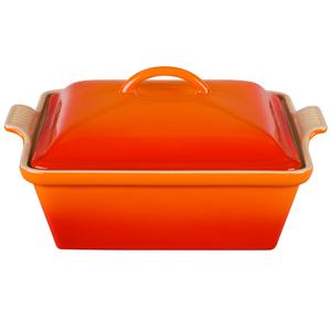 Le Creuset Heritage Flame Stoneware Covered Square Casserole Dish, 2.5 Quart