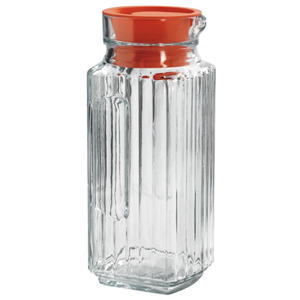 Anchor Hocking Bistro Glass Pitcher with Tangerine Stopper, 1 Quart