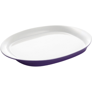 Rachael Ray Round and Square Collection Purple Oval Serving Platter, 14 Inch