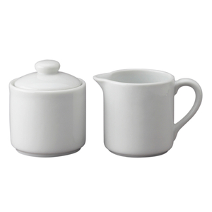 HIC Harold Import Co White Porcelain 6 Ounce Sugar and Creamer Set