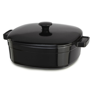 KitchenAid KCLI60CROB Streamline Onyx Black Cast Iron 6-Quart Casserole Dish with Lid