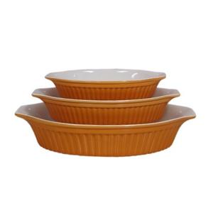 Ceramic 3pc Oval Bakeware Set Orange