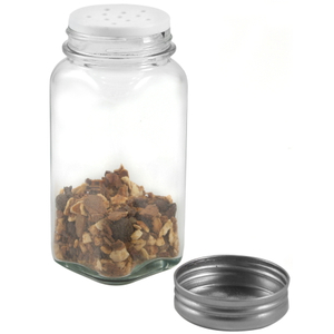 RSVP Square Clear Glass Spice Jar with Brushed Stainless Steel Lid, Set of 12