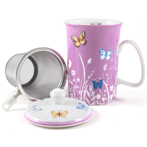 Ashdene Tranquil Butterfly Plum Bone China Mug and Infuser Set