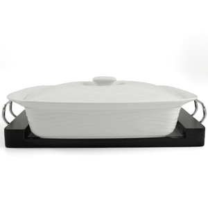 White Ceramic Rectangle Casserole Dish with Black Wood Tray 3 Quart