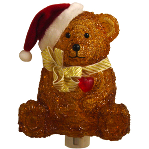 Santa Hat Teddy Bear Christmas Night Light