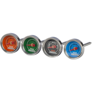Le Creuset Stainless Steel Analog Steak Thermometer, Set of 4