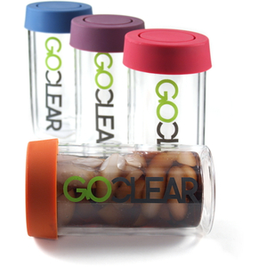 GoClear 14 Ounce Insulated Double Walled Glass Combo Bottle with Assorted Color Silicone Coaster Lid, Set of 2
