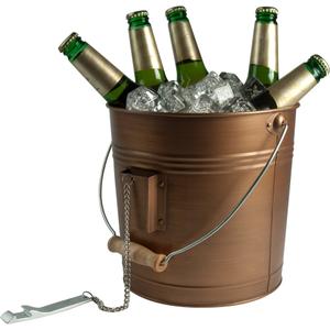 Artland Oasis Distressed Antiqued Copper Finish Beverage Pail and Bottle Opener
