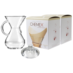 Chemex Glass 30 Ounce Coffee Maker with Cover and 200 Count Bonded Unbleached Pre-Folded Square Coffee Filters