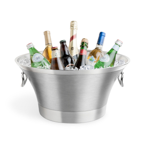 Final Touch Stainless Steel 20 Quart Round Double-Wall Beverage Bin