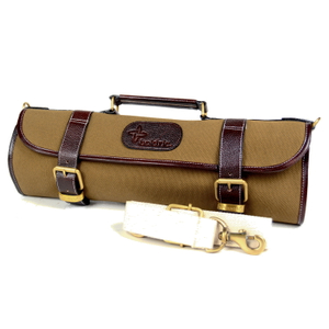 Boldric Khaki Canvas Roll 9 Slot Knife Bag