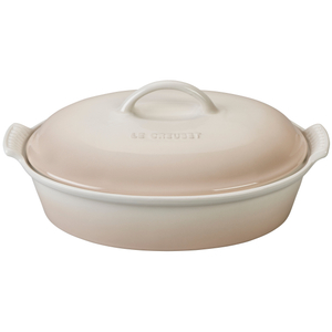 Le Creuset Heritage Meringue Stoneware 4 Quart Covered Oval Casserole Dish
