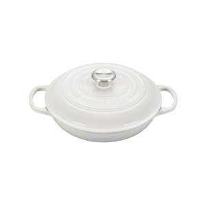 Le Creuset Signature White Covered Brasier with Stainless Steel Knob