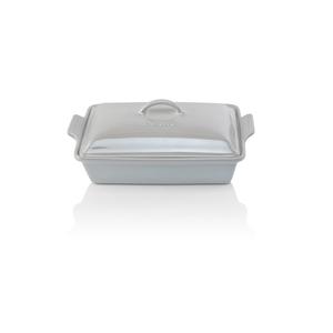 Le Creuset Heritage Metallic White Stoneware Covered 4 Quart Rectangular Casserole Dish