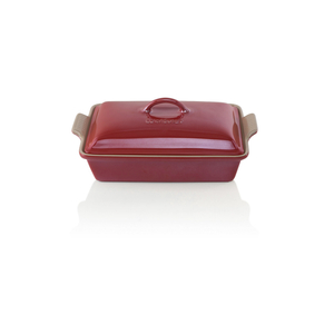 Le Creuset Heritage Metallic Cerise Cherry Stoneware Covered 4 Quart Rectangular Casserole Dish