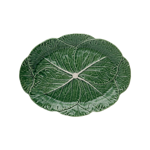 Bordallo Pinheiro Green Earthenware Cabbage Oval Serving Platter