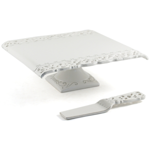 Vintage Style White Porcelain Cake Platter and Server