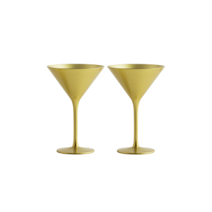 Stolzle Lausitz Olympia Gold German Made Lead Free Crystal Martini Glass, Set of 6