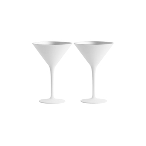Stolzle Lausitz Olympia White and Silver German Made Lead Free Crystal Martini Glass, Set of 6