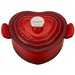 Le Creuset Enameled Cast Iron 1 Quart Cerise Heart Cocotte with Stainless Steel Knob