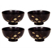 Japanese Blossom Brown Ceramic Rice Bowl,4 Piece Set