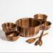 Kalmar Home 11-Inch Acacia Wood Large Soro Salad Bowl with 4 Individuals