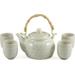 Asian Green and White Porcelain Floral 5 Piece Tea Set