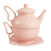 Fanciful Flight Pink Embossed Tea for One Teapot