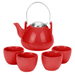 Ariel Red Teapot & 4 Tea Cups, 6 Piece Set
