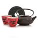 Red Nightingale Cast Iron Tetsubin Tea Set 4 pieces 20 Ounces