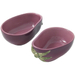 Home Gourmet Collection Ceramic Purple Eggplant Vegetable Dipping Bowls, Set of 2