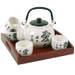 White Asian Kanji Symbol Teapot & Teacup Set with Serving Tray